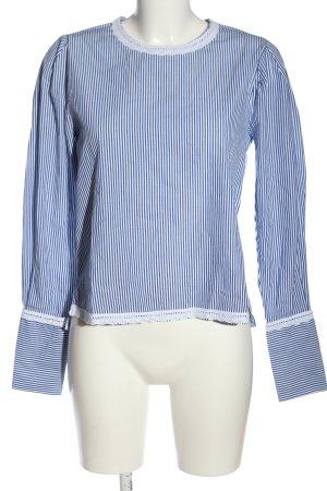 Mango Suit Schlupf-Bluse blau-weiß Streifenmuster Casual-Look