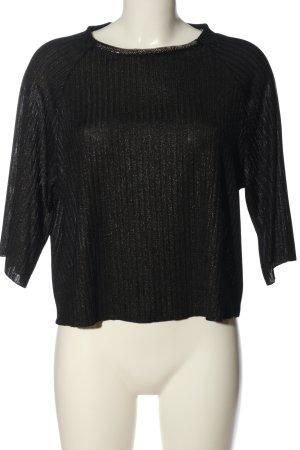 Mango Suit Schlupf-Bluse schwarz-silberfarben meliert Casual-Look