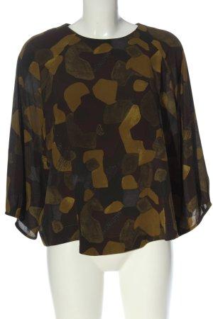 Mango Suit Schlupf-Bluse khaki-blassgelb Allover-Druck Casual-Look