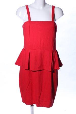 Mango Suit Vestido peplum rojo elegante