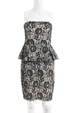 Mango Suit Vestido peplum blanco-negro estampado floral elegante