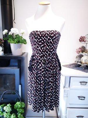 Mango Suit schulterfreies Sommerkleid Midi Gr M schwarz rot weiß Bandeaukleid Kleid trägerlos schulterfrei