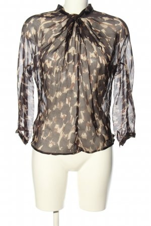 Mango Suit Seidenbluse schwarz-creme abstraktes Muster Casual-Look