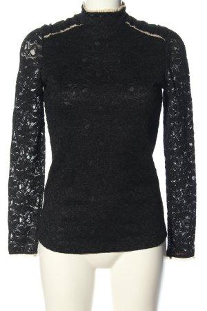 Mango Suit Blusa de encaje negro-blanco puro elegante