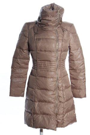 Mango Suit Pikowany płaszcz brązowy Pikowany wzór W stylu casual
