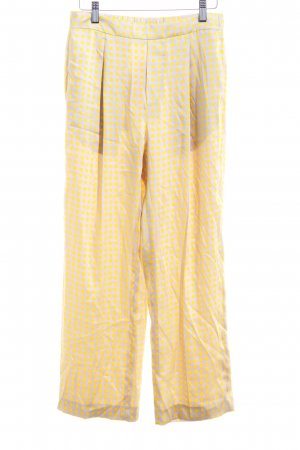 Mango Suit Stoffhose neongelb-beige grafisches Muster Elegant