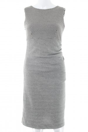 Mango Suit Stretchkleid wollweiß-dunkelbraun abstraktes Muster Business-Look