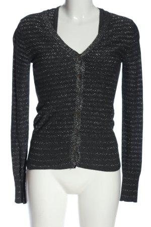 Mango Suit Ensemble en tricot noir-argenté motif rayé style décontracté