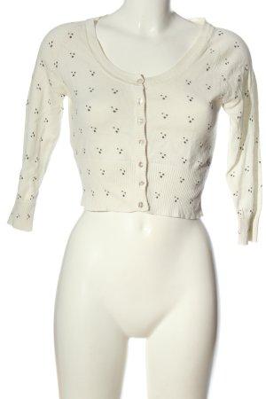 Mango Suit Bolerko z dzianiny biały Nadruk z motywem W stylu casual