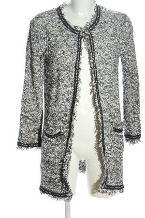 Mango Suit Manteau en tricot blanc cassé-noir moucheté style décontracté