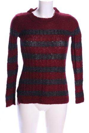 Mango Suit Maglione lavorato a maglia rosso-grigio chiaro motivo a righe