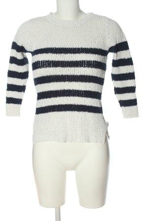 Mango Suit Strickpullover weiß-blau Streifenmuster Casual-Look