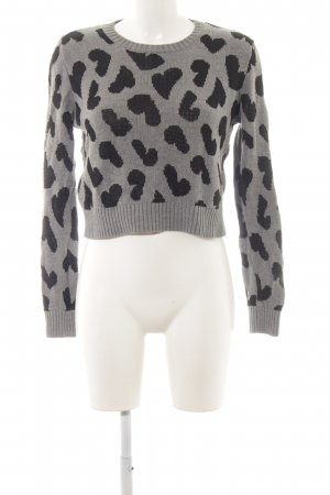 Mango Suit Strickpullover grau-schwarz Animalmuster