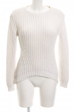 Mango Suit Strickpullover weiß Zopfmuster Casual-Look