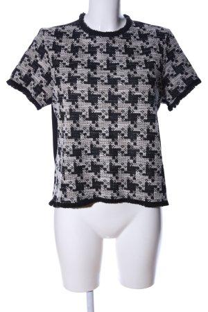 Mango Suit Strickshirt schwarz-wollweiß grafisches Muster Casual-Look