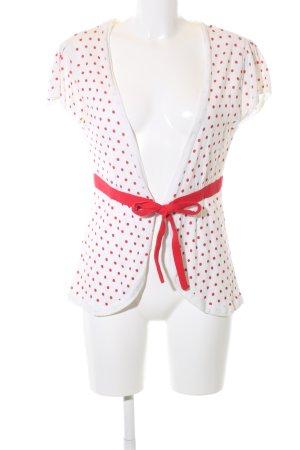 Mango Suit Strickwickeljacke weiß-rot Punktemuster Casual-Look