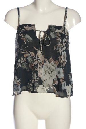 Mango Suit Trägertop schwarz-wollweiß Blumenmuster Casual-Look