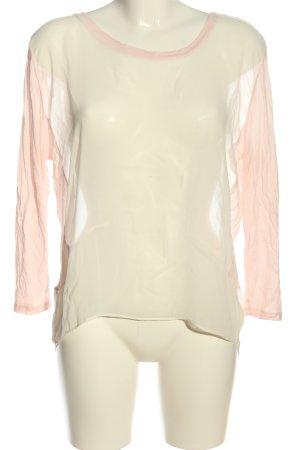 Mango Suit Transparenz-Bluse weiß-pink Casual-Look