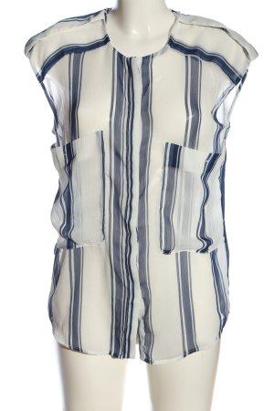 Mango Suit Transparenz-Bluse weiß-blau Streifenmuster Casual-Look