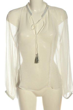Mango Suit Transparentna bluzka biały W stylu casual