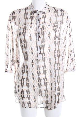 Mango Suit Transparenz-Bluse wollweiß-schwarz abstraktes Muster Business-Look