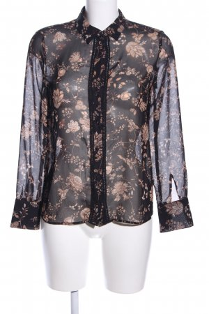 Mango Suit Transparenz-Bluse schwarz-nude Blumenmuster Business-Look