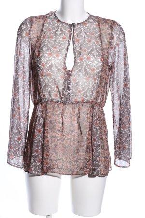 Mango Suit Transparenz-Bluse braun-hellorange Allover-Druck Casual-Look