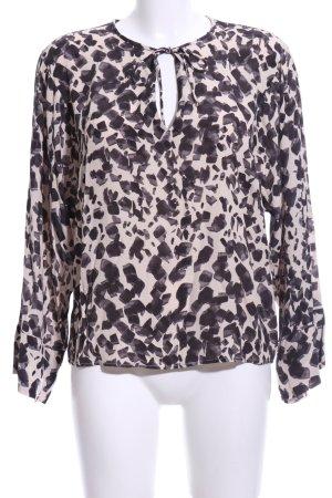 Mango Suit Tunikabluse schwarz-creme abstraktes Muster Casual-Look