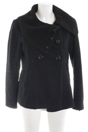 Mango Suit Übergangsjacke schwarz Zopfmuster Casual-Look