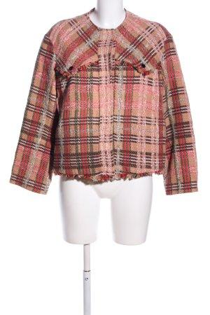 Mango Suit Übergangsjacke pink-creme Karomuster Casual-Look