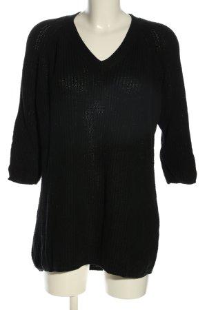 Mango Suit V-Ausschnitt-Pullover schwarz Casual-Look