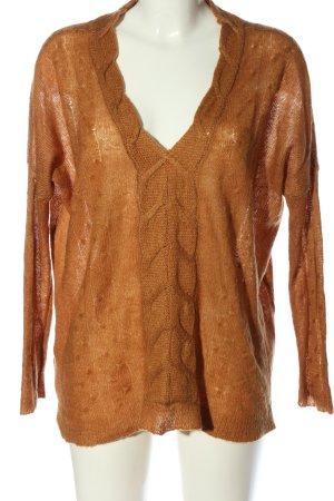 Mango Suit V-Ausschnitt-Pullover hellorange Zopfmuster Casual-Look