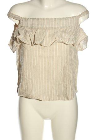 Mango Suit Top z falbanami w kolorze białej wełny-biały Wzór w paski
