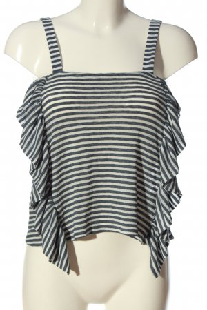 Mango Suit Flounce Top black-white striped pattern casual look