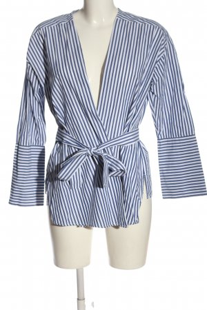 Mango Suit Wraparound Blouse white-blue striped pattern casual look