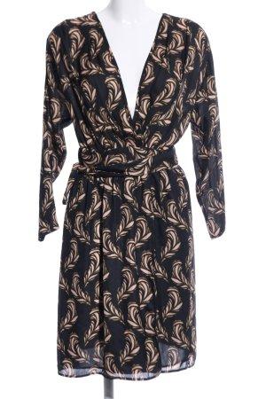 Mango Suit Robe portefeuille noir-crème motif abstrait style d'affaires
