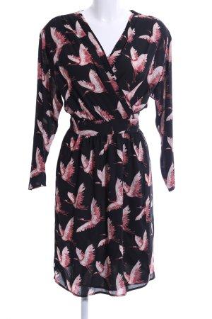 Mango Suit Robe portefeuille noir-rose imprimé allover style décontracté