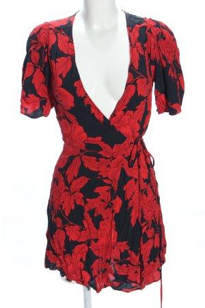Mango Suit Vestido cruzado negro-rojo elegante