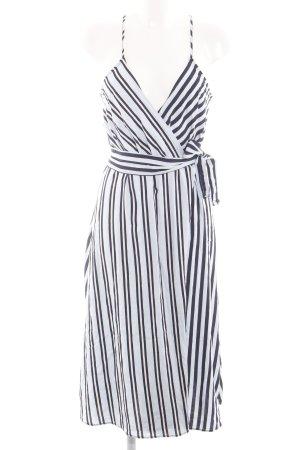 Mango Suit Wickelkleid weiß-schwarz Streifenmuster Casual-Look
