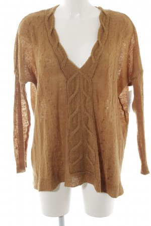 Mango Suit Cable Sweater bronze-colored casual look
