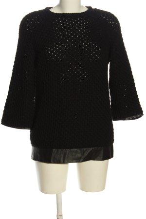 Mango Suit Warkoczowy sweter czarny W stylu casual