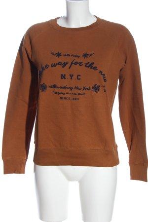 Mango Sweatshirt hellorange-schwarz Schriftzug gedruckt Casual-Look