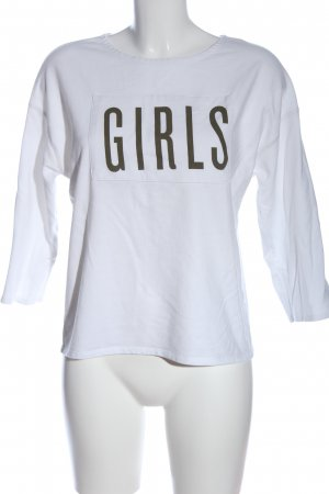 Mango Sweatshirt weiß-khaki Schriftzug gedruckt Casual-Look