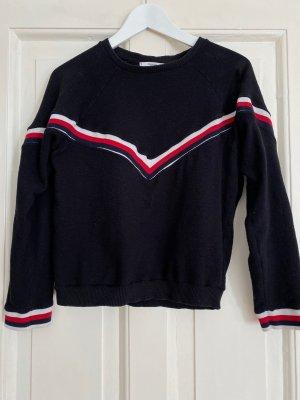 MANGO Sweatshirt Pulli schwarz Streifen rot weiss - S