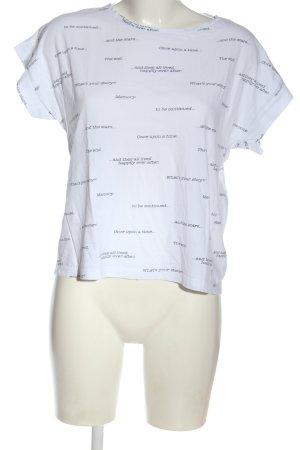 Mango T-Shirt weiß-schwarz Allover-Druck Casual-Look