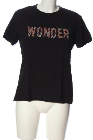 Mango T-Shirt schwarz Schriftzug gedruckt Casual-Look