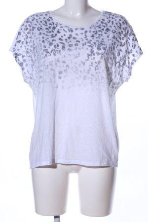 Mango T-Shirt weiß-blau Leomuster Casual-Look