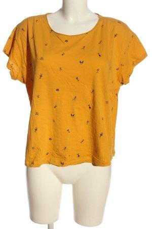 Mango Camiseta naranja claro-negro estampado repetido sobre toda la superficie