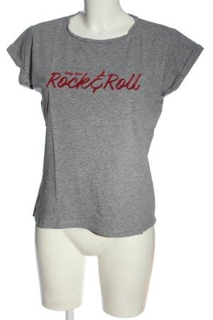 Mango T-Shirt hellgrau-rot meliert Casual-Look