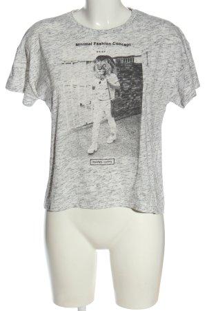 Mango T-shirt lichtgrijs gestippeld casual uitstraling